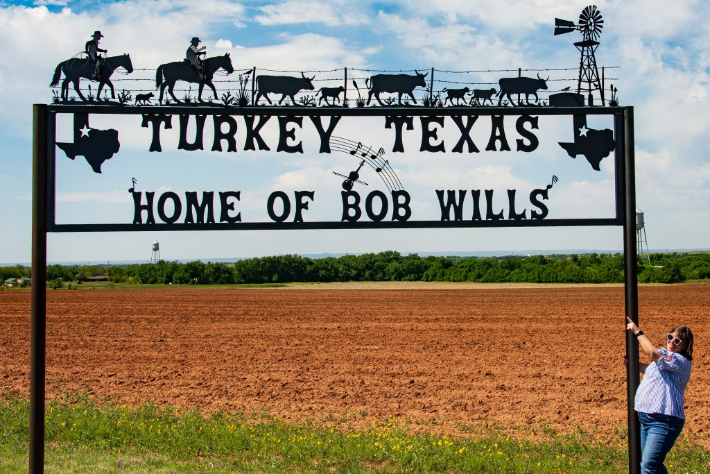 The welcome sign to Turkey, Texas, hometown of Bob WIlls
