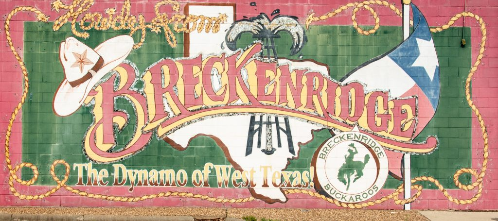 One of the many great murals in the former boom town of Breckenridge, Texas.