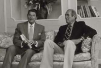 Allen Drury with Ronald Reagan.